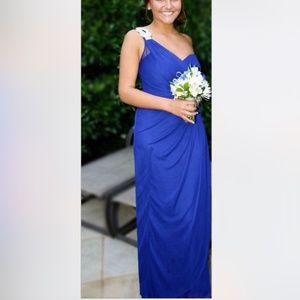 [Xscape] Royal Blue One-Shoulder Evening Gown 8